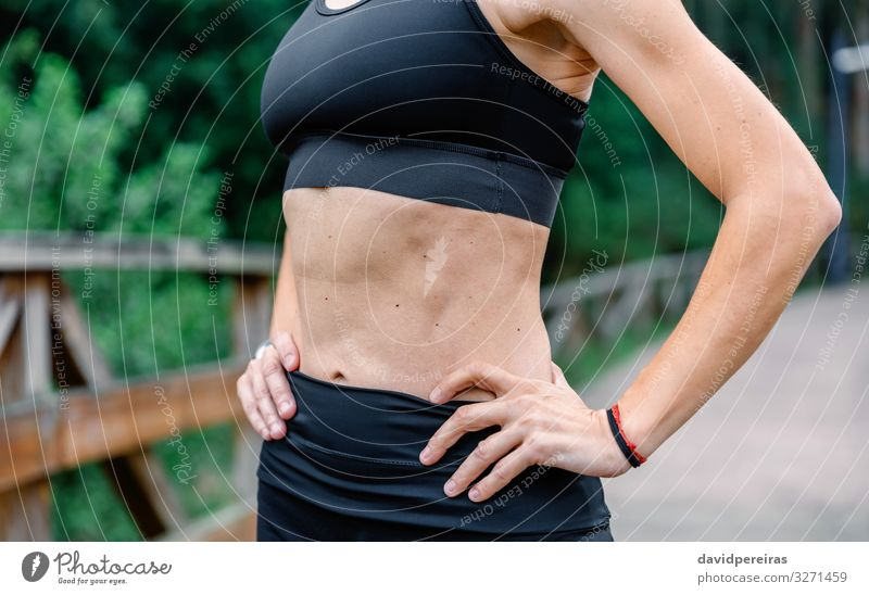 Athlete woman posing with sportswear Lifestyle Sports Human being Woman Adults Arm Hand Nature Park Fitness Athletic Thin Self-confident Unrecognizable athlete