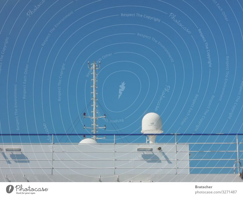 Sky Vacation & Travel Summer White Ocean Tourism Trip Transport Beautiful weather Cloudless sky Navigation Turquoise Cruise Railing Ferry Antenna