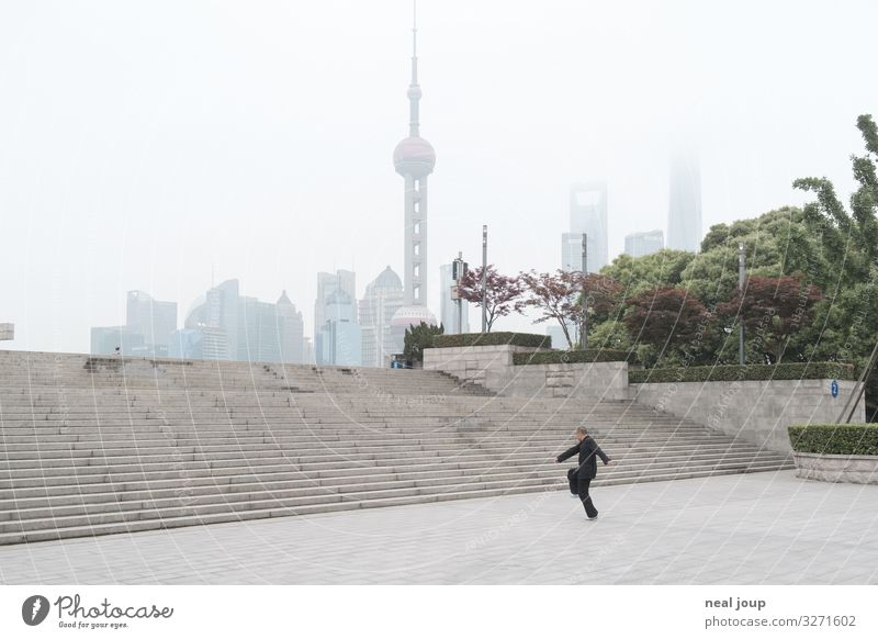 chief samurai Life Meditation Yoga Tai Chi Masculine Man Adults 1 Human being Park Shanghai China Stairs Oriental Pearl Tower Concrete Movement Relaxation