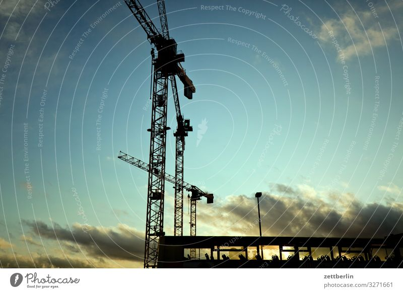 Construction site with bus Evening Architecture Berlin City Germany Twilight Capital city House (Residential Structure) Sky Heaven Downtown Downtown Berlin