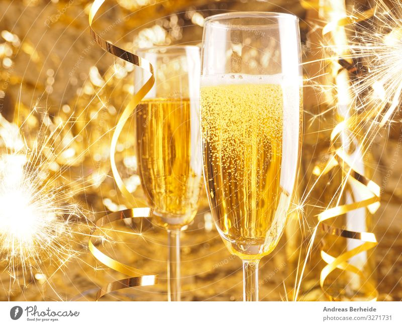 Happy New Year. Christmas and New Year holidays background Beverage Sparkling wine Prosecco Champagne Joy Life Event Restaurant Feasts & Celebrations