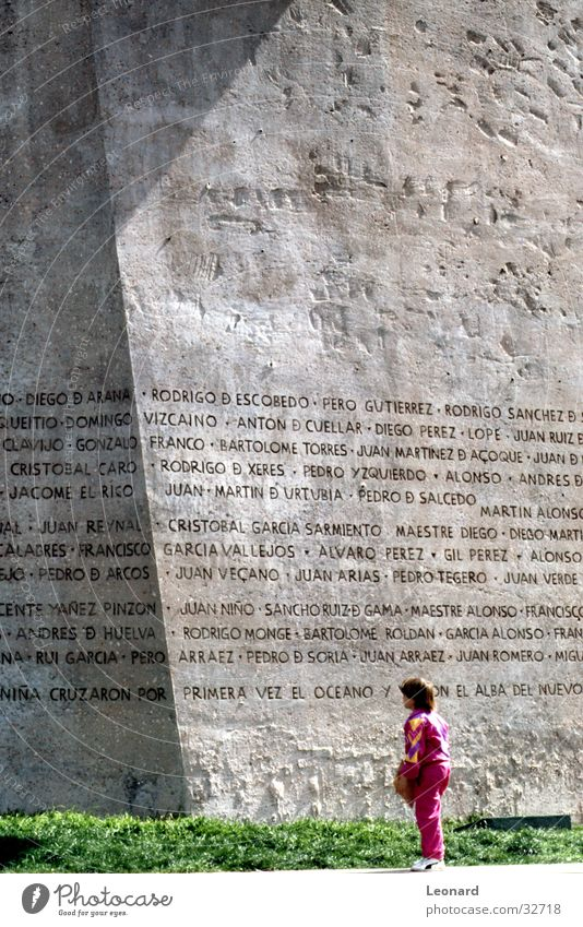 Human being Child Girl Characters Monument Past Spain Text Work of art Madrid