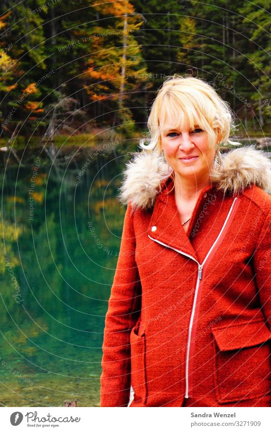 Mrs. am Waldsee Feminine Woman Adults 1 Human being 30 - 45 years Environment Nature Landscape Plant Water Autumn Climate Climate change Lake Jacket Blonde