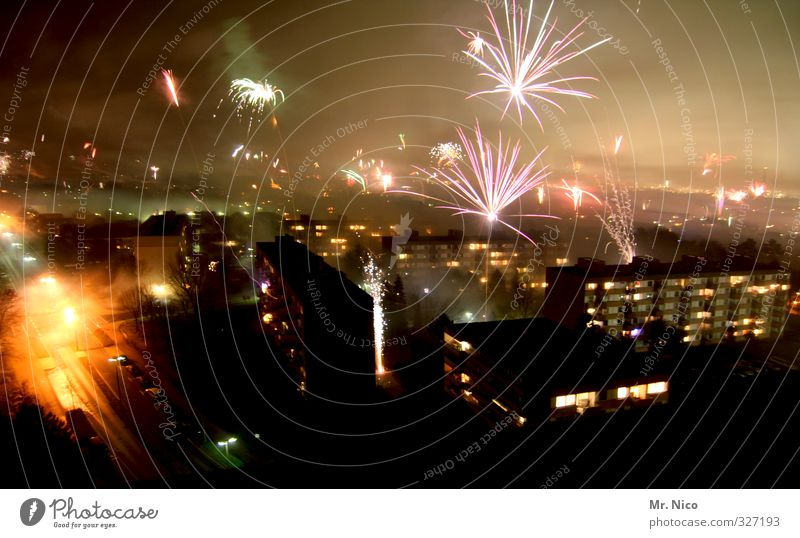Sky City Joy Winter Happy Feasts & Celebrations Party Fog Lifestyle High-rise New Year's Eve Skyline Smoke Downtown Tradition Firecracker