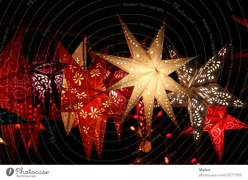 Star lanterns at a Christmas market Christmas & Advent Background picture Beautiful Bright Feasts & Celebrations Colour Multicoloured Decoration Design Detail