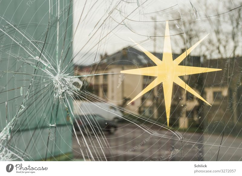 Christmas & Advent Window Religion and faith Decoration Door Gloomy Poverty Hope Belief Anger Decline Force Aggression Small Town Aggravation Hatred