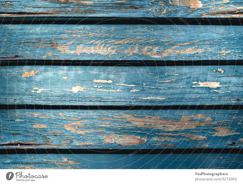 Aged blue wooden background. Planks with shriveled blue paint Architecture Facade Window Door Wood Old Natural Retro Blue Turquoise aged wood Antique