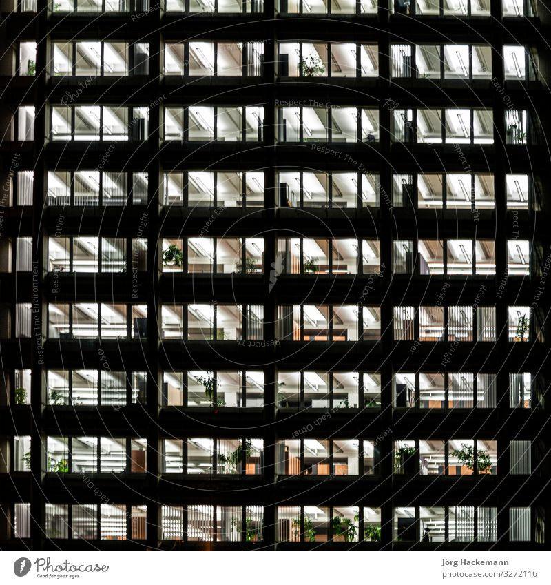 typical generic offices at night Work and employment Profession Office Business High-rise Facade Dark Black Austria empty light Characteristic Night