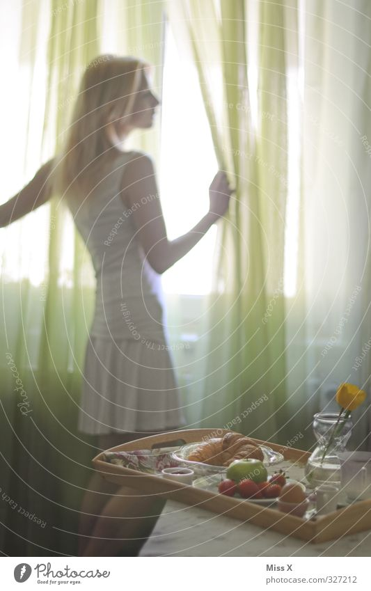 Human being Woman Youth (Young adults) Adults Window 18 - 30 years Feminine Food Fruit Wait Living or residing Nutrition Table Observe Coffee Dress