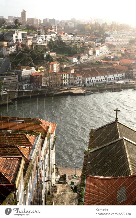 Beautiful landscape of Porto (Portugal), views of Douro river. Life Harmonious Relaxation Calm Vacation & Travel Tourism Trip Freedom Sightseeing City trip