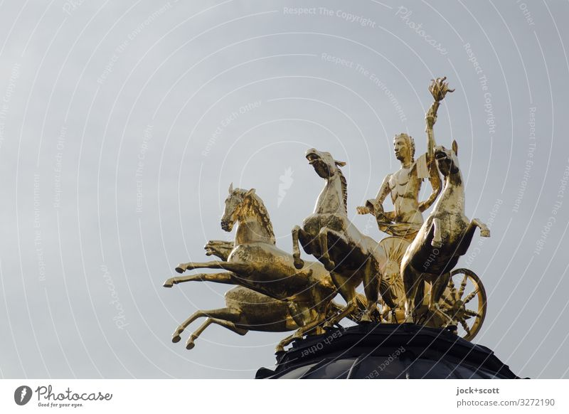 1900 golden past Sculpture Baroque Cloudless sky Bayreuth Horse Figure Carriage and four Exceptional Elegant Glittering Historic Above Positive Gold Gray Moody