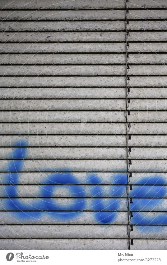 Blue Graffiti Love Emotions Characters Sign Infatuation Typography English Sympathy Subculture Venetian blinds Declaration of love Roller blind