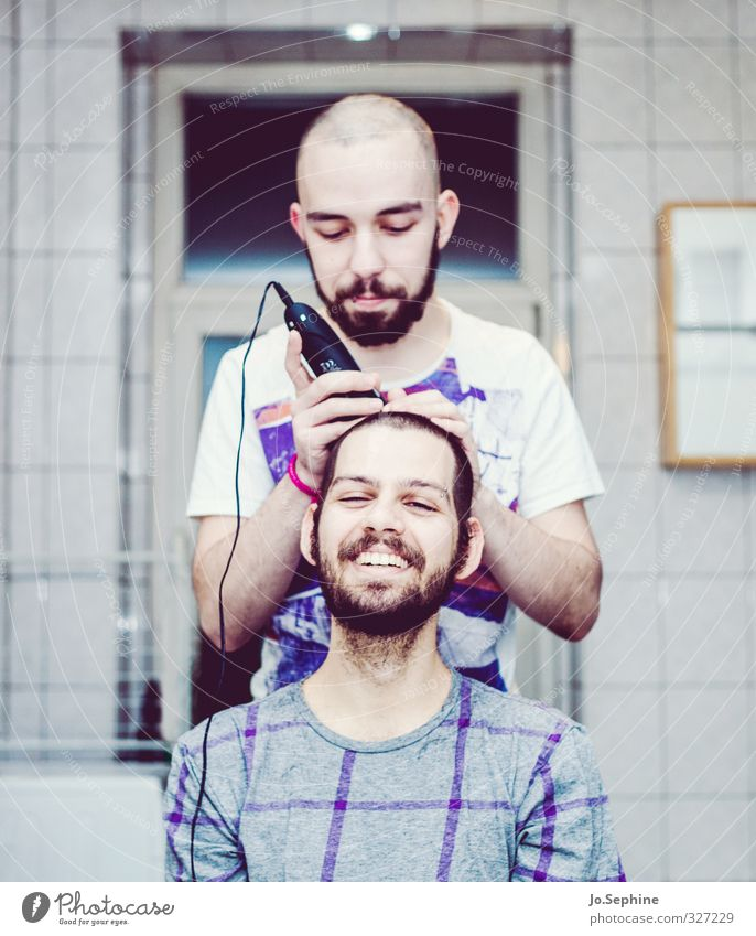 Peter says Hairdressing Haircut Personal hygiene Friendship Solidarity Attachment Together Trust helping Hair and hairstyles Hair Stylist Shaving Shave Joy