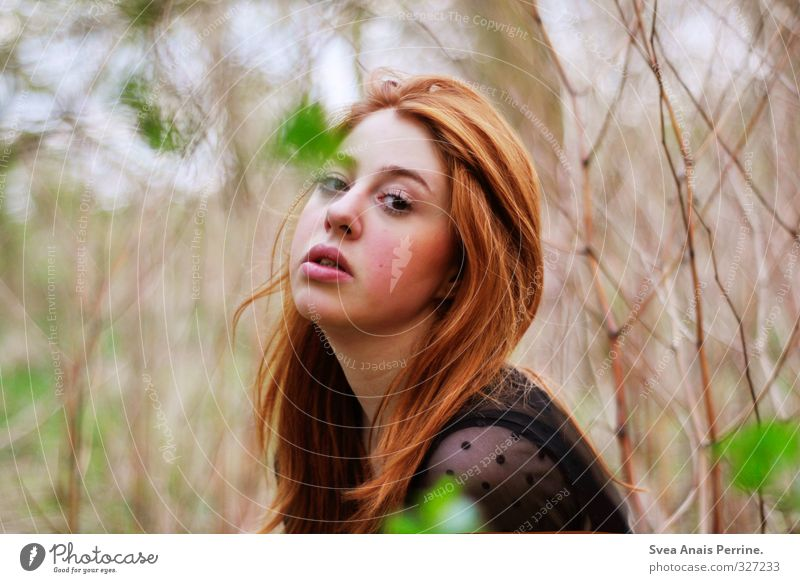 . Feminine Young woman Youth (Young adults) Head Hair and hairstyles Face Mouth Lips 1 Human being 18 - 30 years Adults Environment Nature Bushes Red-haired