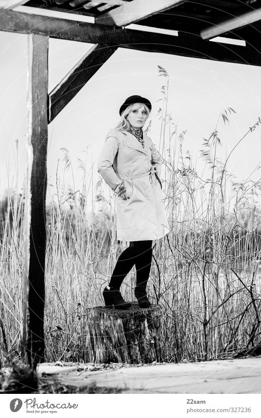 SPRING 2013 Lifestyle Elegant Style Feminine Young woman Youth (Young adults) 18 - 30 years Adults Nature Spring Tree Bushes Common Reed Lakeside Fashion Coat