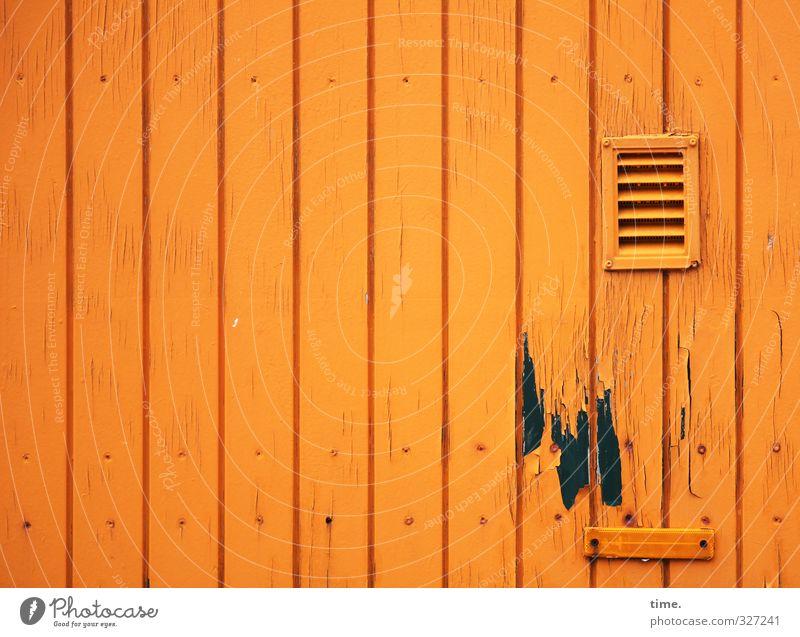 Rømø, we could fix the flush sometime. Wall (barrier) Wall (building) Facade Vent slot Varnished Profiled Timber Wood Old Sharp-edged Broken Wet Trashy Orange