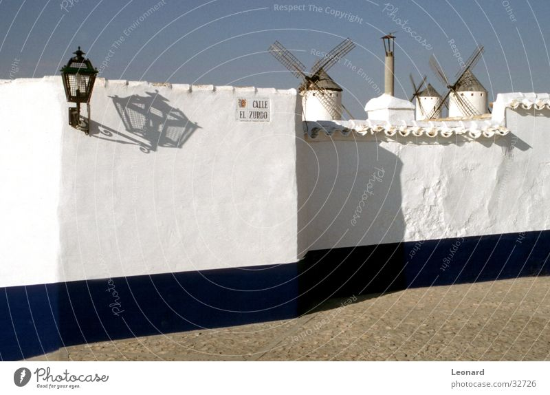 White Blue House (Residential Structure) Street Wall (barrier) Architecture Spain Mill
