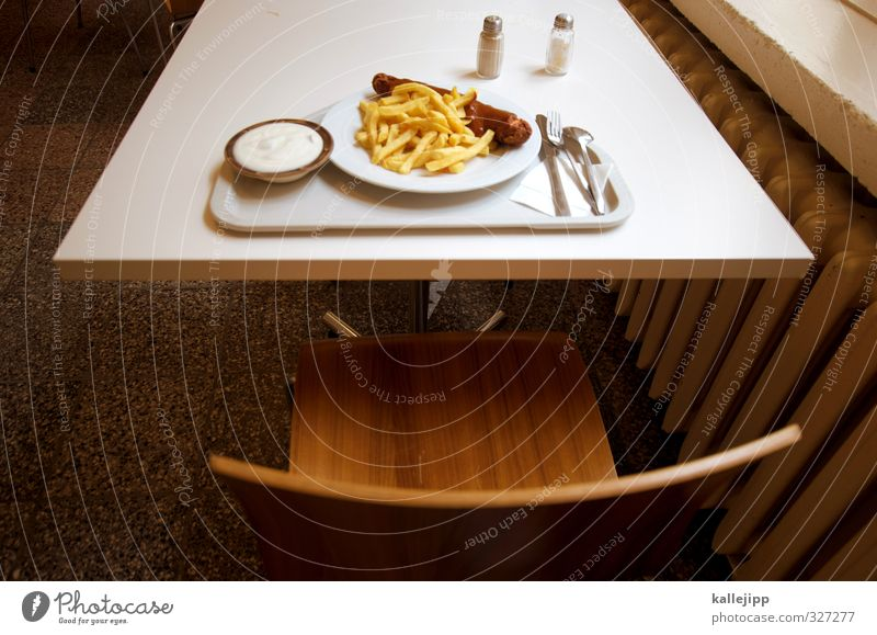 Dinner for One Food Meat Sausage Herbs and spices Nutrition Lunch Fast food Crockery Plate Bowl Cutlery Knives Fork Spoon Gluttony Voracious Lack of inhibition