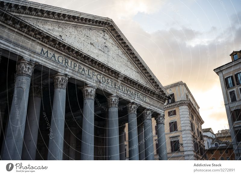 Facade of ancient temple during sunset exterior architecture street city pantheon rome italy landmark site place destination famous facade entrance roof column