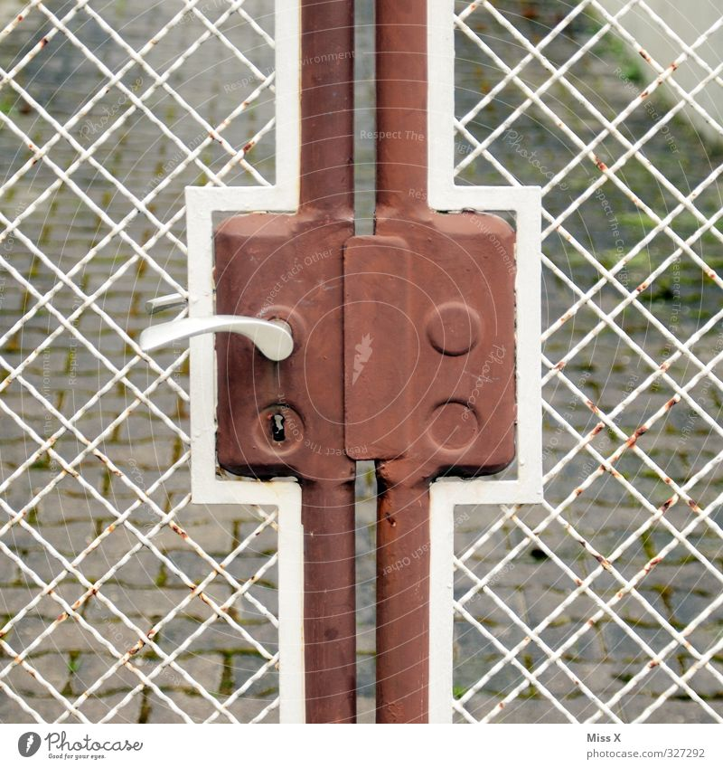 fence cross Living or residing Door Old Fence Door lock Lock Door handle Gate Metalware Rust Colour photo Exterior shot Pattern Deserted Copy Space left