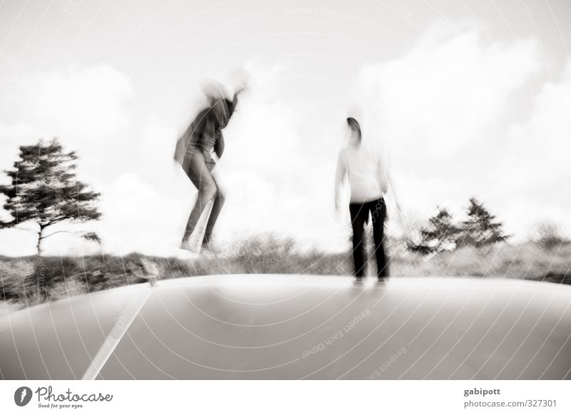 rømø | Young Hoppers Youth (Young adults) Adults 2 Human being Playing Sports Jump Happiness Enthusiasm Joy Trampoline Athletic Blur Kinetic energy Movement