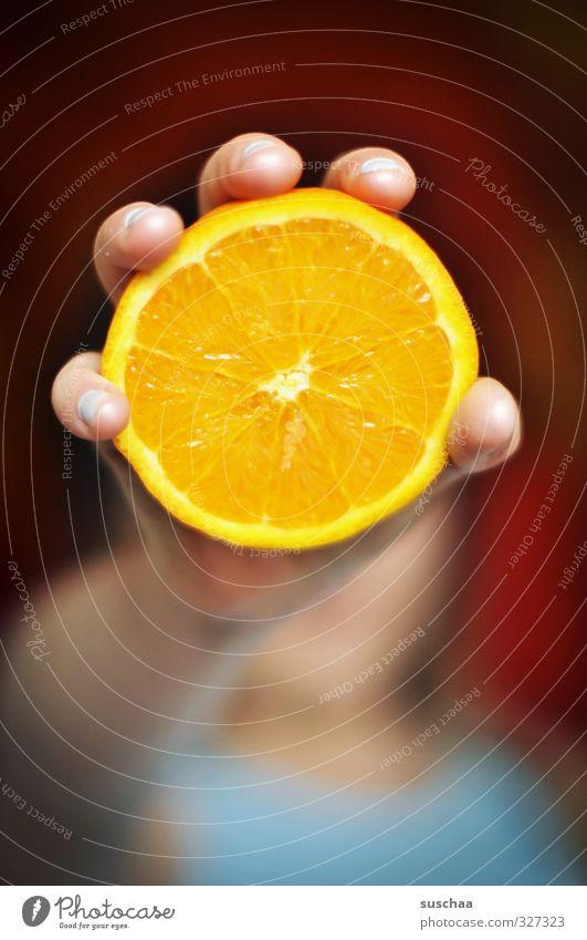 vitamin C Food Orange Healthy Feminine Child Skin Hand Fingers 1 Human being Exotic Fresh Delicious Round Juicy Fruit Citrus fruits Vitamin C Colour photo