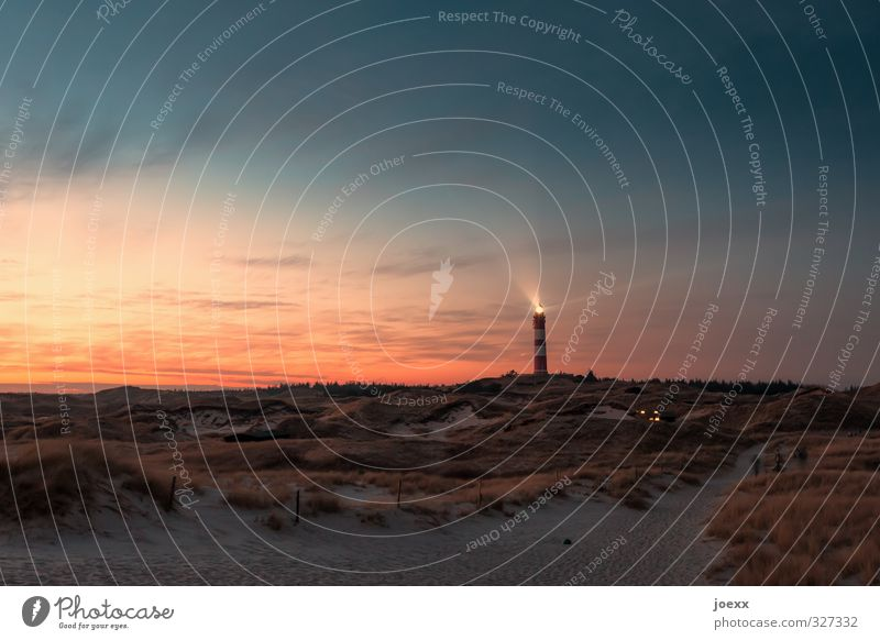 night watch Nature Landscape Sky Clouds Horizon Sunrise Sunset Summer Beautiful weather Beach Island Amrum Dune Lighthouse Illuminate Old Bright Blue Orange