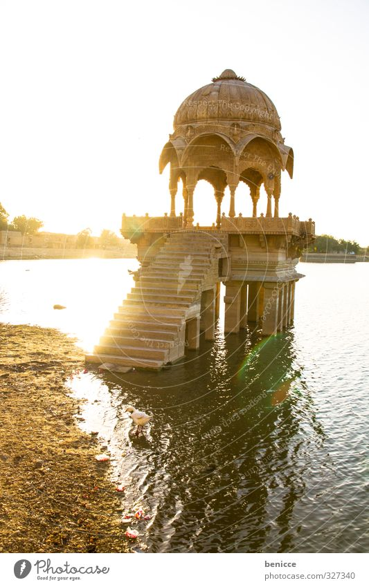 Morning light in India Deserted Architecture Manmade structures Column Nature Sky Water Lake Photography Exterior shot Day Vacation & Travel Travel photography