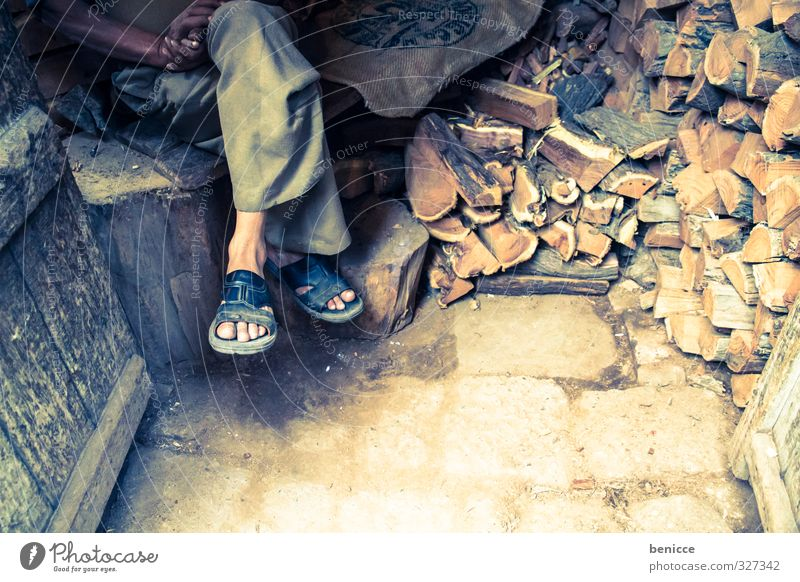 wooden legs Feet Legs Wood Firewood House (Residential Structure) Man Human being Poverty India slippers Sandal Flip-flops Sit Asia Hut small house