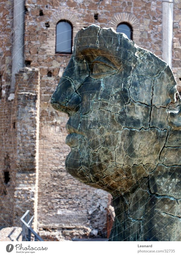 Human being Man Face Stone Building Art Statue Craft (trade) Historic Sculpture Rome Exhibition Death's head