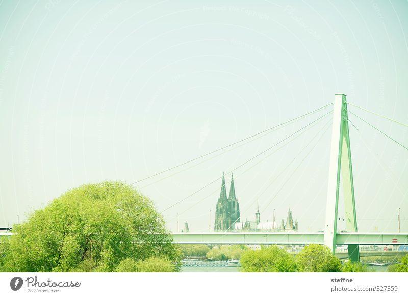 Helau! Tree Cologne Dome Bridge Tourist Attraction Landmark Cologne Cathedral Esthetic Severins bridge Rheinau docks Colour photo Panorama (View)
