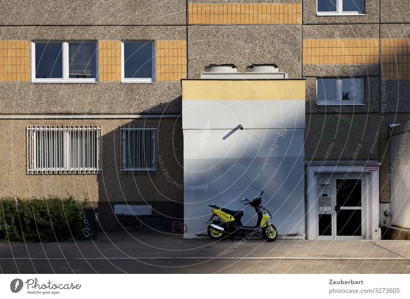 Panel building facade with yellow roller Berlin Town Deserted House (Residential Structure) High-rise Prefab construction Wall (barrier) Wall (building) Facade