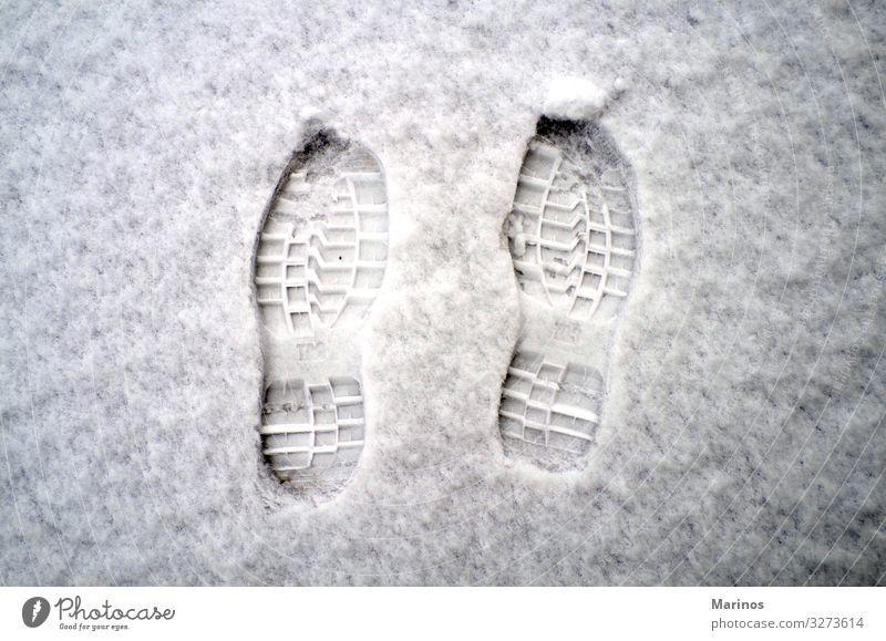 Footprints on snow. Nature White Winter Snow Feet Fresh Weather Vantage point Footwear Ground Seasons Frozen Tracks Tread