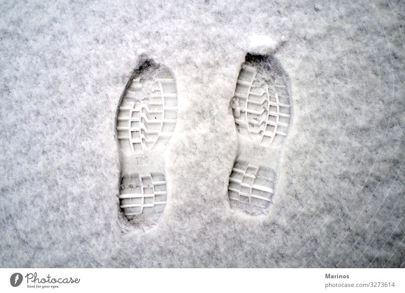 Footprints on snow. Winter Snow Feet Nature Weather Footwear Fresh White cold walking Seasons trace track Tracks footsteps boot Vantage point Frozen Tread