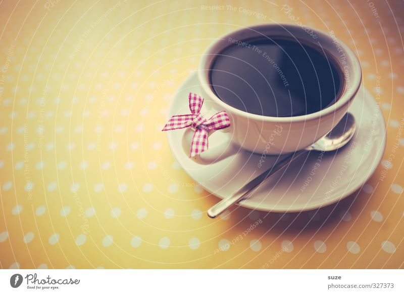 There I see black Food Beverage Hot drink Coffee Cup Spoon Lifestyle Style Design Friendliness Cute Retro Yellow Pink Love Harmonious Well-being Decoration