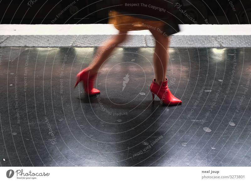 Clicking red heels Lifestyle Shopping Elegant Night life Feminine Woman Adults Legs Feet Paris Passenger traffic Rail transport Underground High heels
