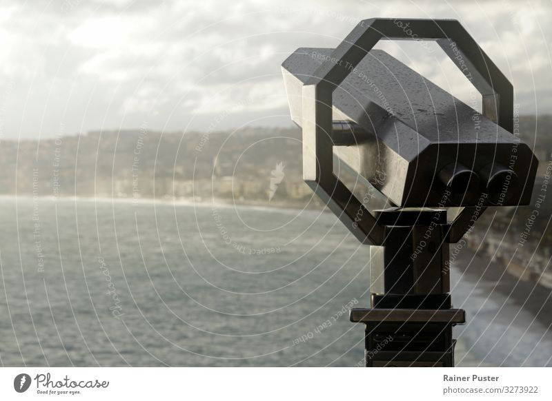 Binoculars with the coast of Nice in the background Sightseeing City trip Beach Ocean Horizon Beautiful weather Rain Waves Outskirts Tourist Attraction Infinity