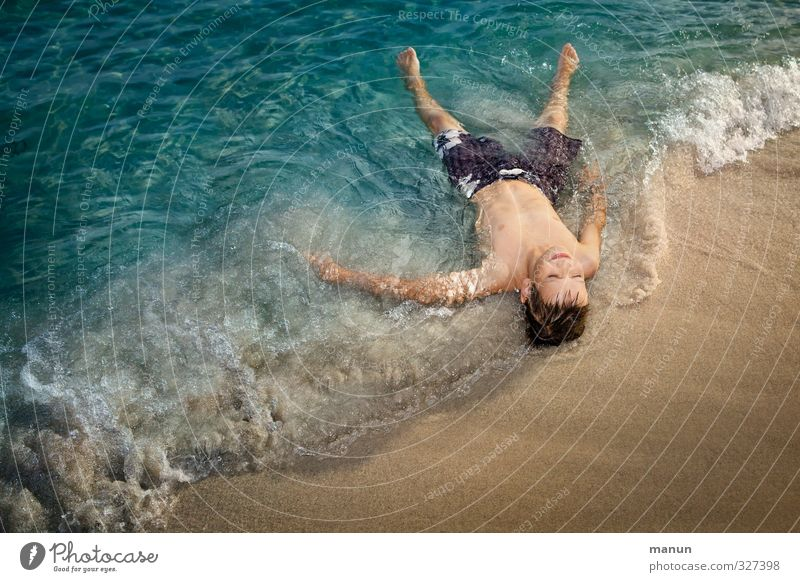 Human being Child Youth (Young adults) Vacation & Travel Water Summer Sun Ocean Relaxation Beach Warmth Life Boy (child) Happy Swimming & Bathing Sand