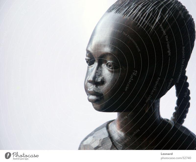 Woman Human being Girl Face Wood Art Africa Statue Craft (trade) Sculpture Sculpture Child Wood flour