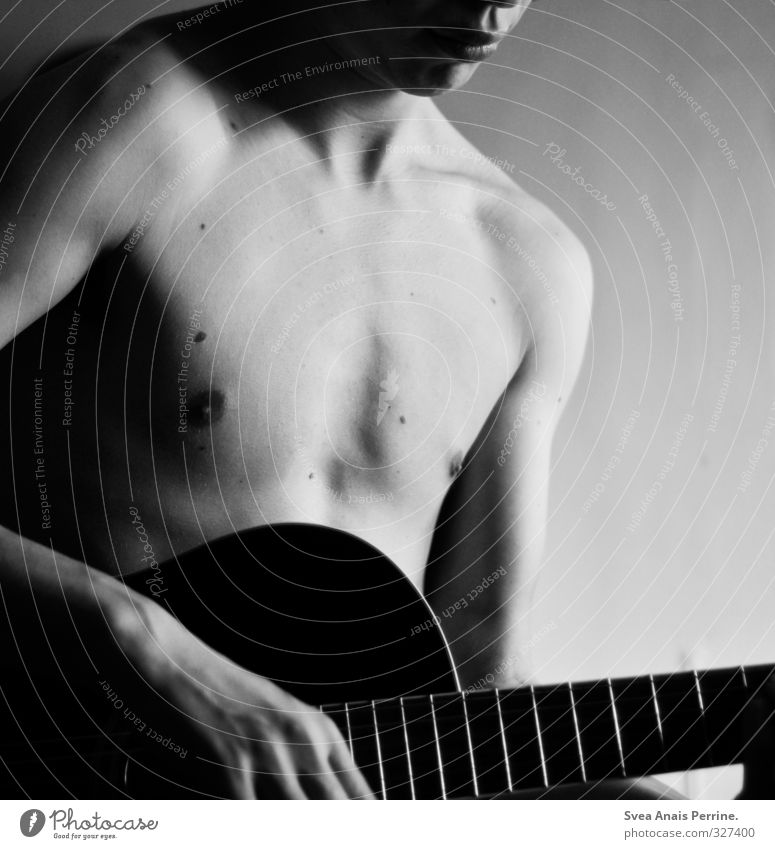 gentle. Masculine Young man Youth (Young adults) Body Skin Chest Stomach 1 Human being 18 - 30 years Adults To hold on Dream Naked Natural Contentment Guitar