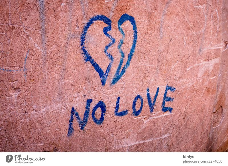 broken heart, blue graffiti on an old pink wall Divide Relationship Wall (barrier) Wall (building) Characters Graffiti Heart Sadness Love Authentic Blue Pink