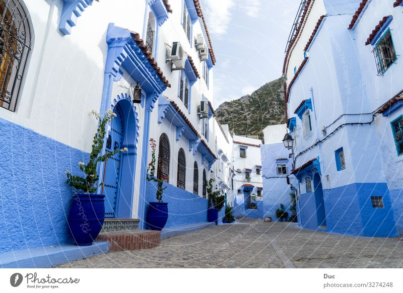 Blue city Chefchaouen Vacation & Travel Religion and faith Tradition architecture house street town City sky window alley old narrow Horizontal blue color image