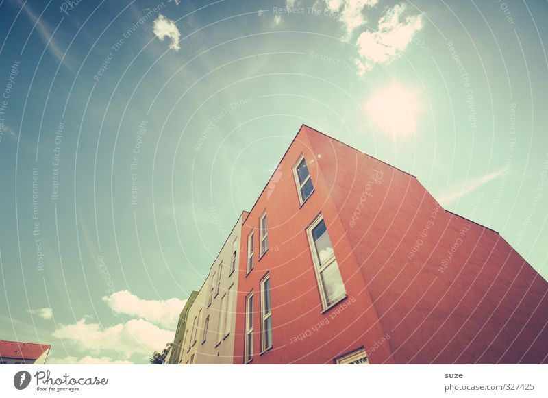 Sky Blue City Sun Red Clouds House (Residential Structure) Environment Window Architecture Building Style Exceptional Facade Climate Energy industry