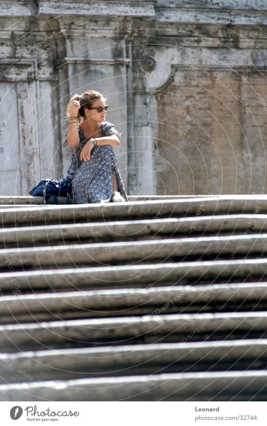 Woman Human being Calm Sit Stairs Break Italy Ladder Rome
