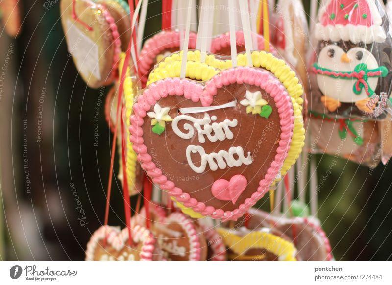 Gingerbread hearts at market stall. For grandma Food Candy Trip Feasts & Celebrations Oktoberfest Fairs & Carnivals Joy Trust Secrecy Warm-heartedness Sympathy