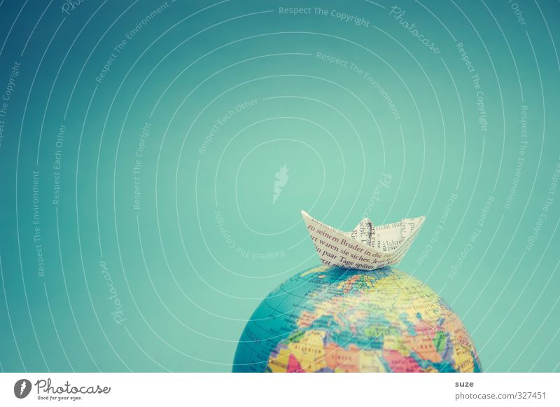 Vacation & Travel Blue Ocean Playing Travel photography Small Earth Watercraft Leisure and hobbies Lifestyle Cute Paper Creativity Idea Symbols and metaphors