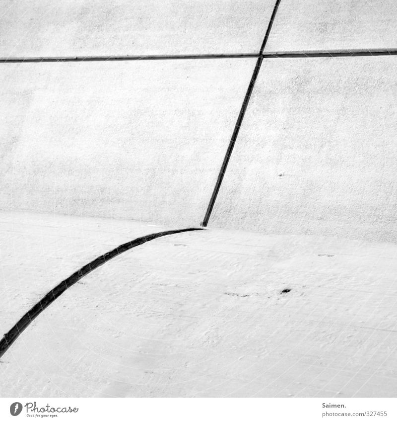 round straight Wall (barrier) Wall (building) Facade Round Line Christian cross Cross Structures and shapes Black & white photo Exterior shot Copy Space bottom