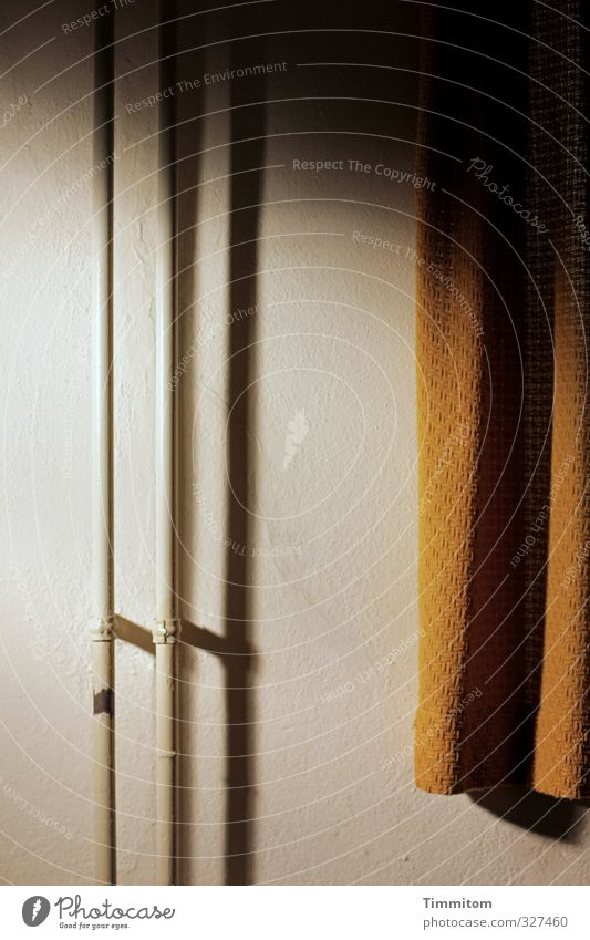 Where much light... Interior design Wall (barrier) Wall (building) Esthetic Dark Simple Gold White Drape Shadow Iron-pipe Bright Heating pipe Colour photo