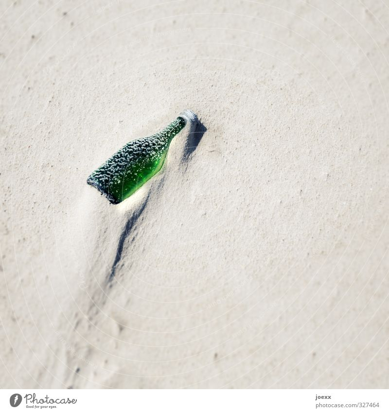 They had mail Sand Beautiful weather Beach Bottle Glass Old Bright Green Empty Glass for recycling Flotsam and jetsam Colour photo Exterior shot Deserted Day