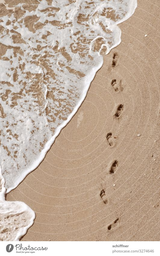 Footprint on the beach Beach Ocean Barefoot barefoot beach Sea water Waves White crest vacation Vacation mood ready for a holiday Vacation & Travel from on high